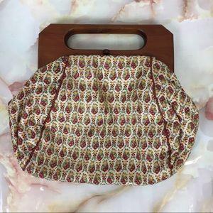 Vintage   Wooden Handle Bag